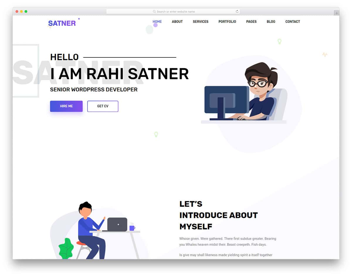satner-free-personal-website-templates