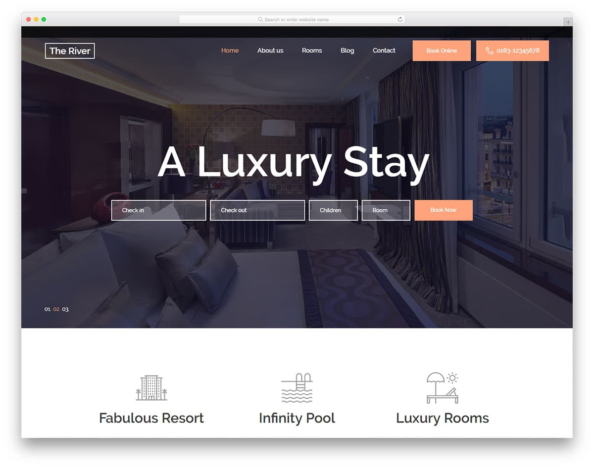 theriver-free-hotel-website-templates