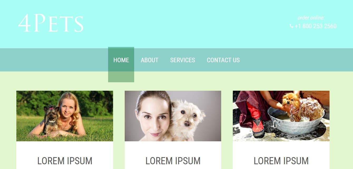 4pets animal and pets website template