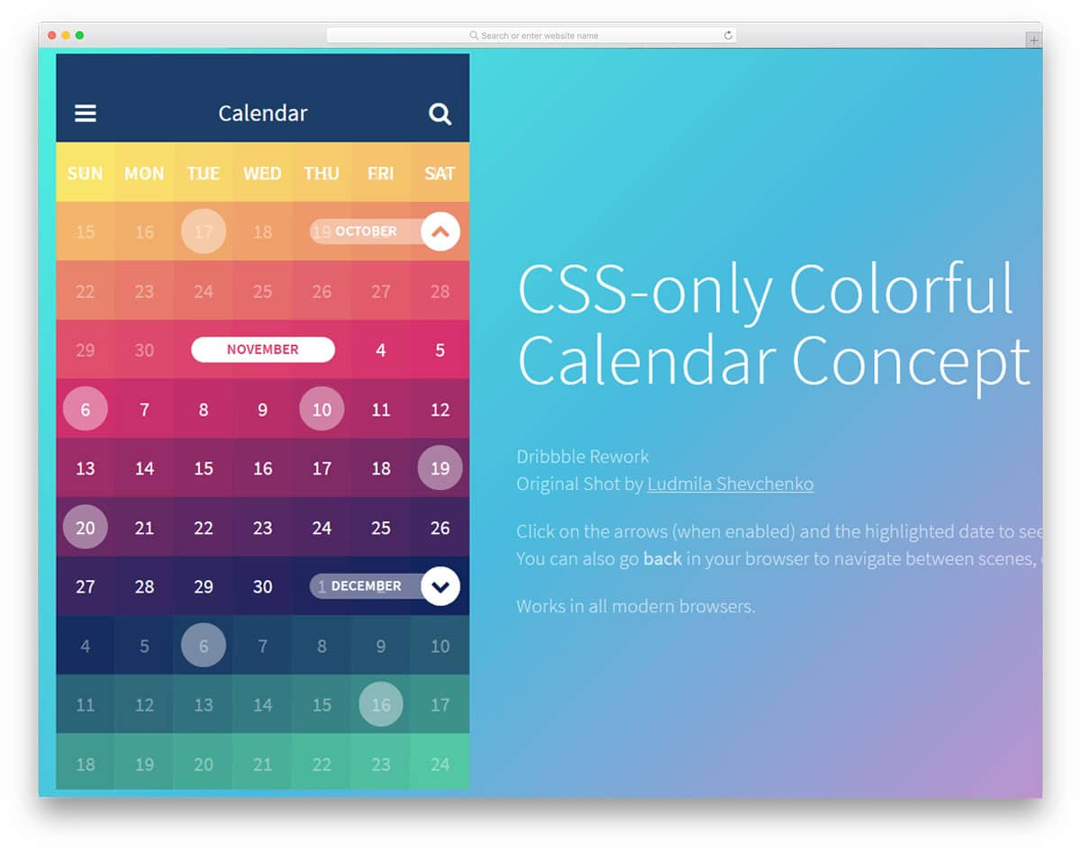CSS-only-Colorful-Calendar-Concept
