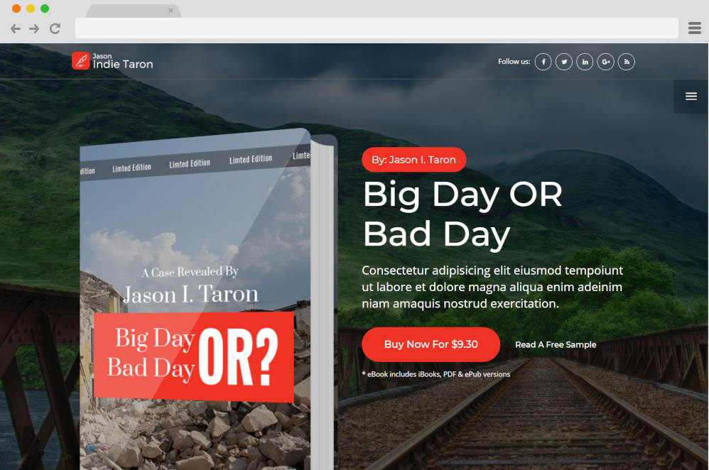 book landing page author website templates