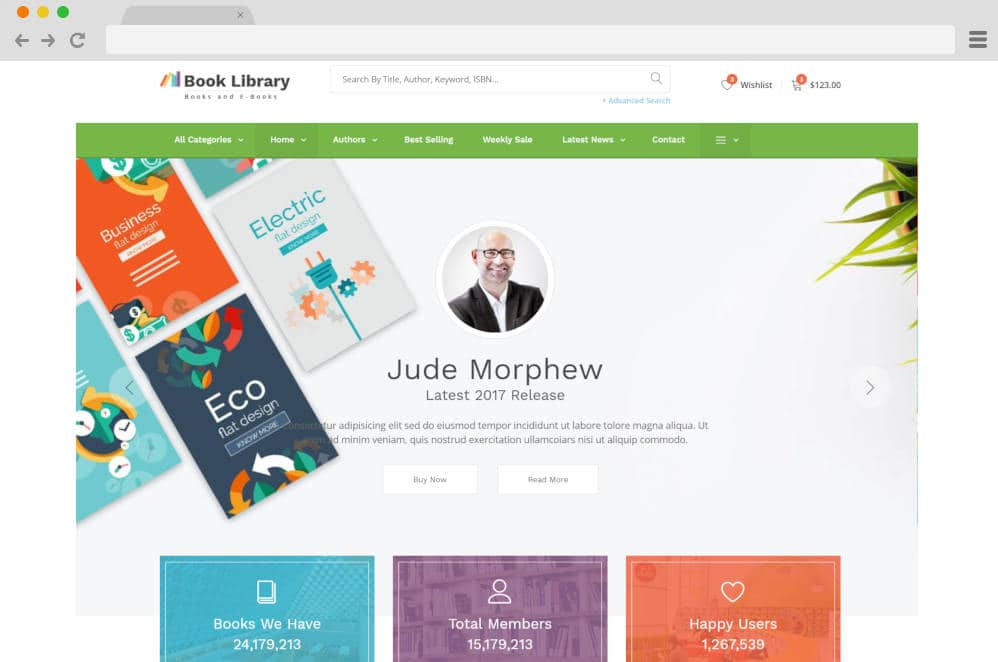 book store and library author website templates