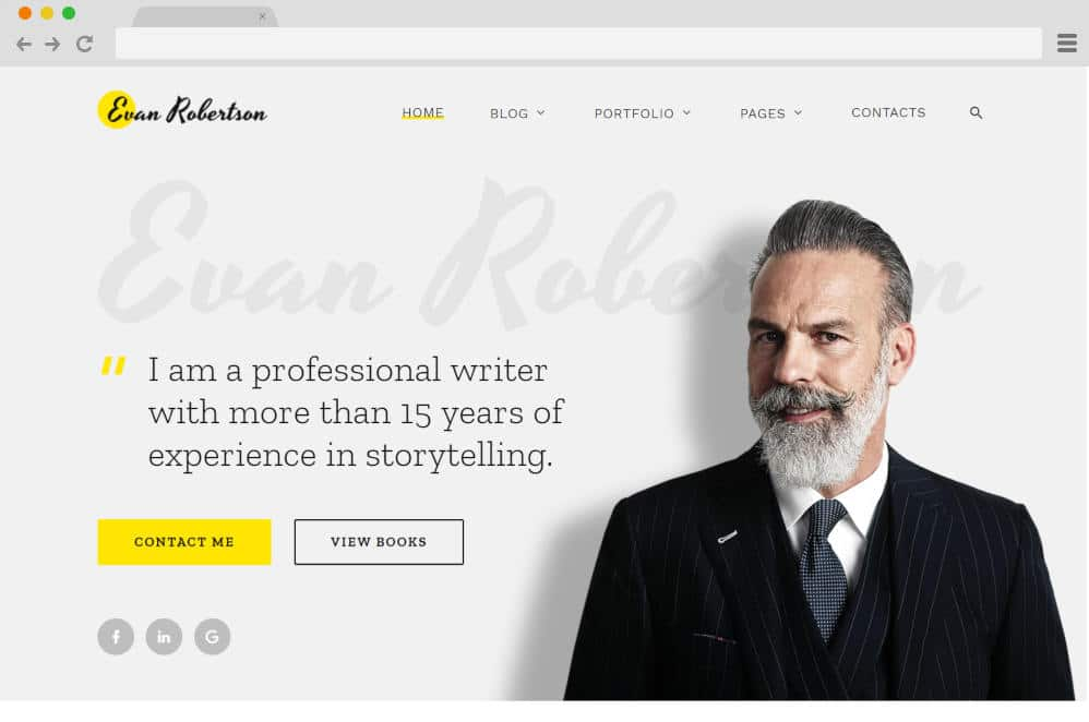 evan roberton author website templates
