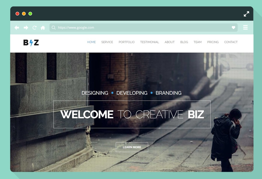 one page parallax website template