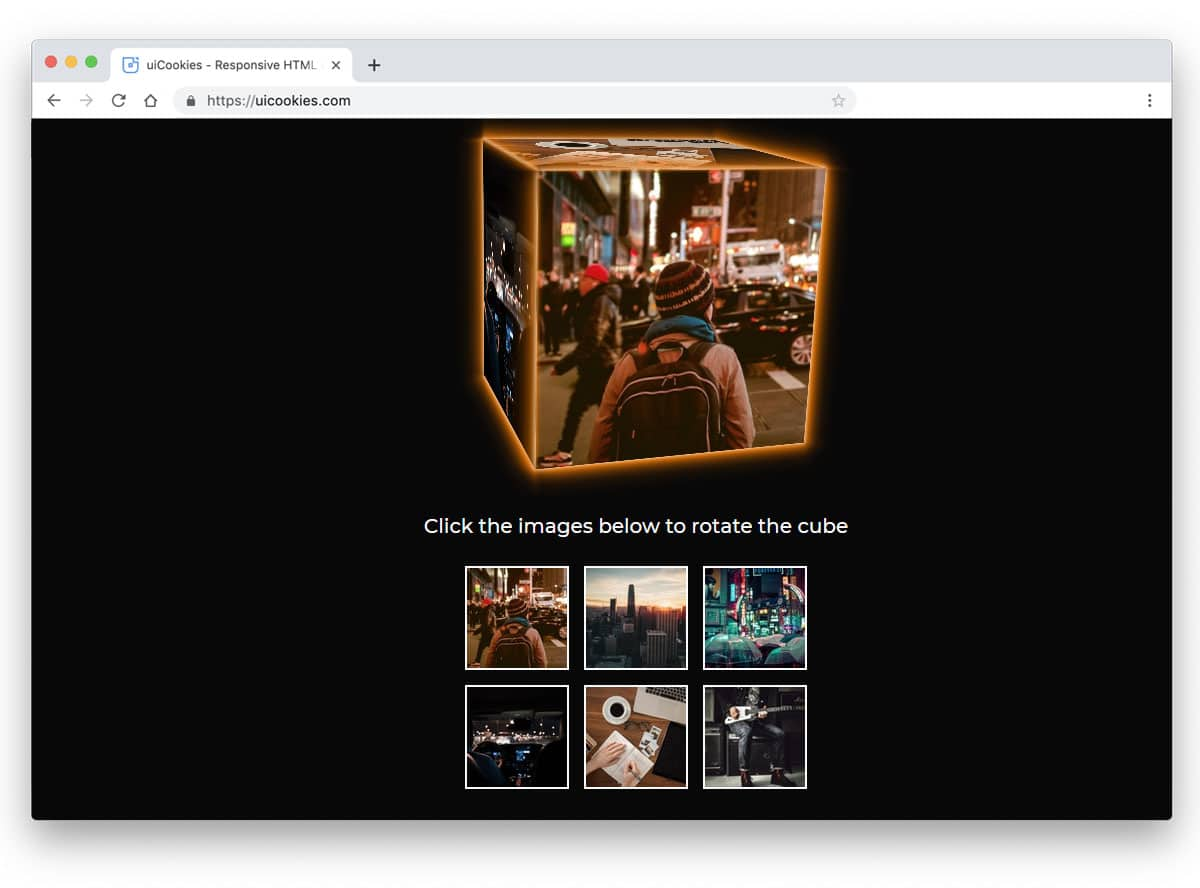 gallery with interactive cube element