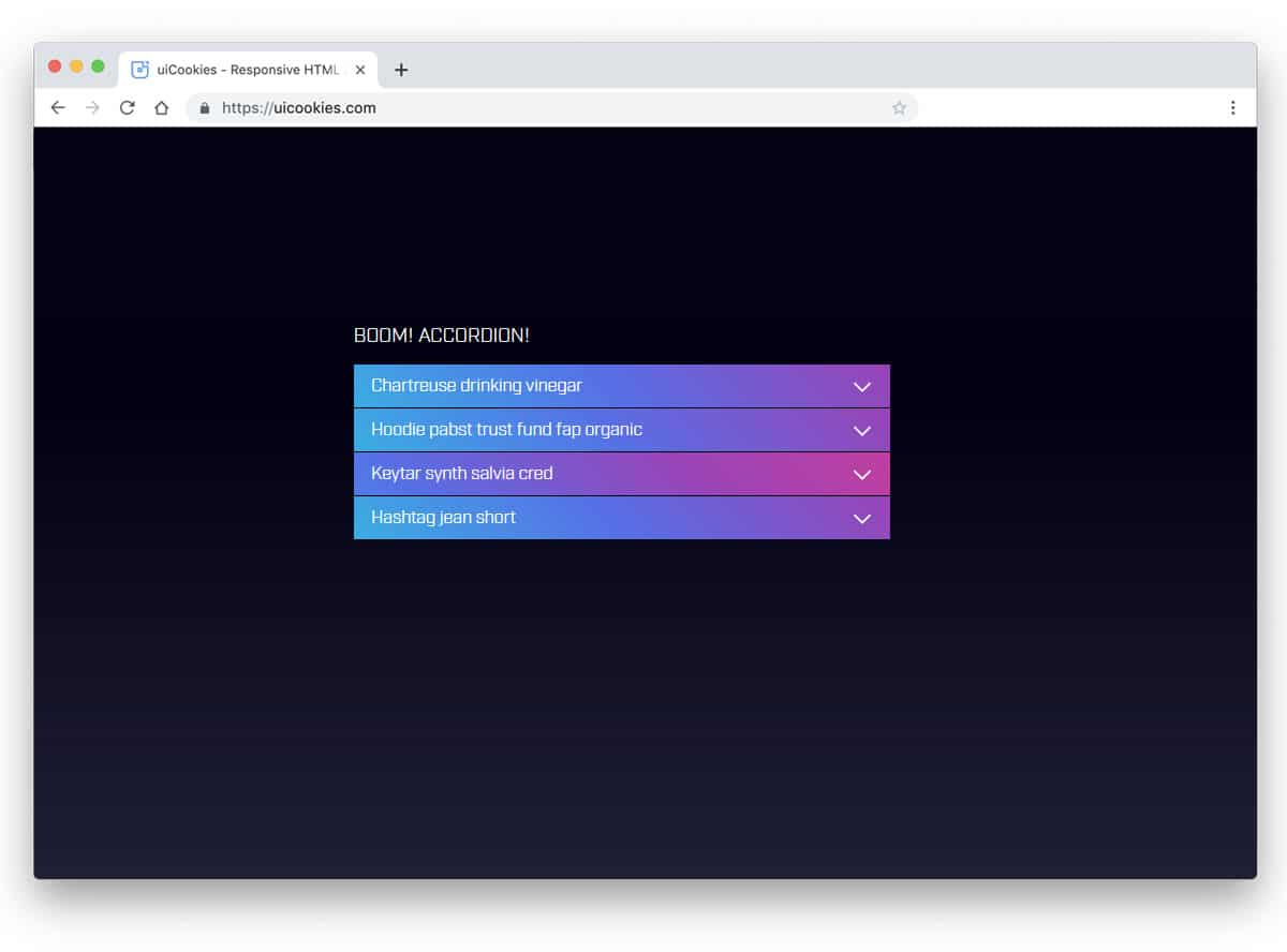 gradient rich bootstrap accordion design