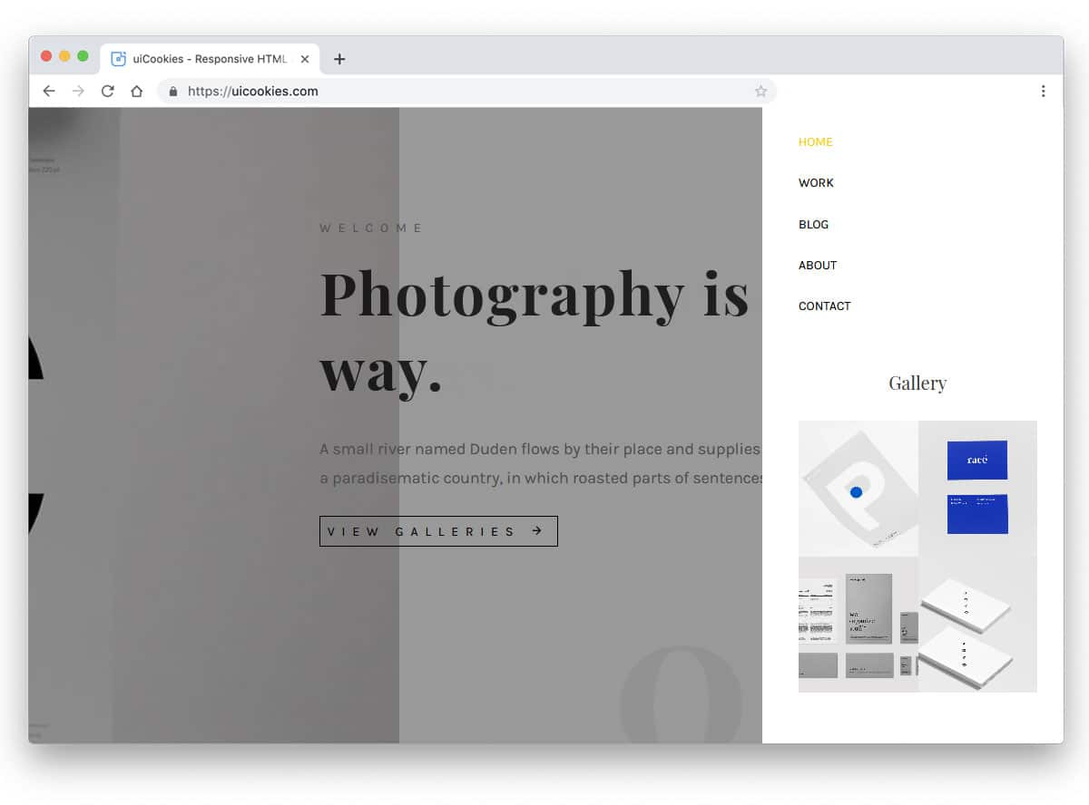 smartly used gallery on the navigation menu