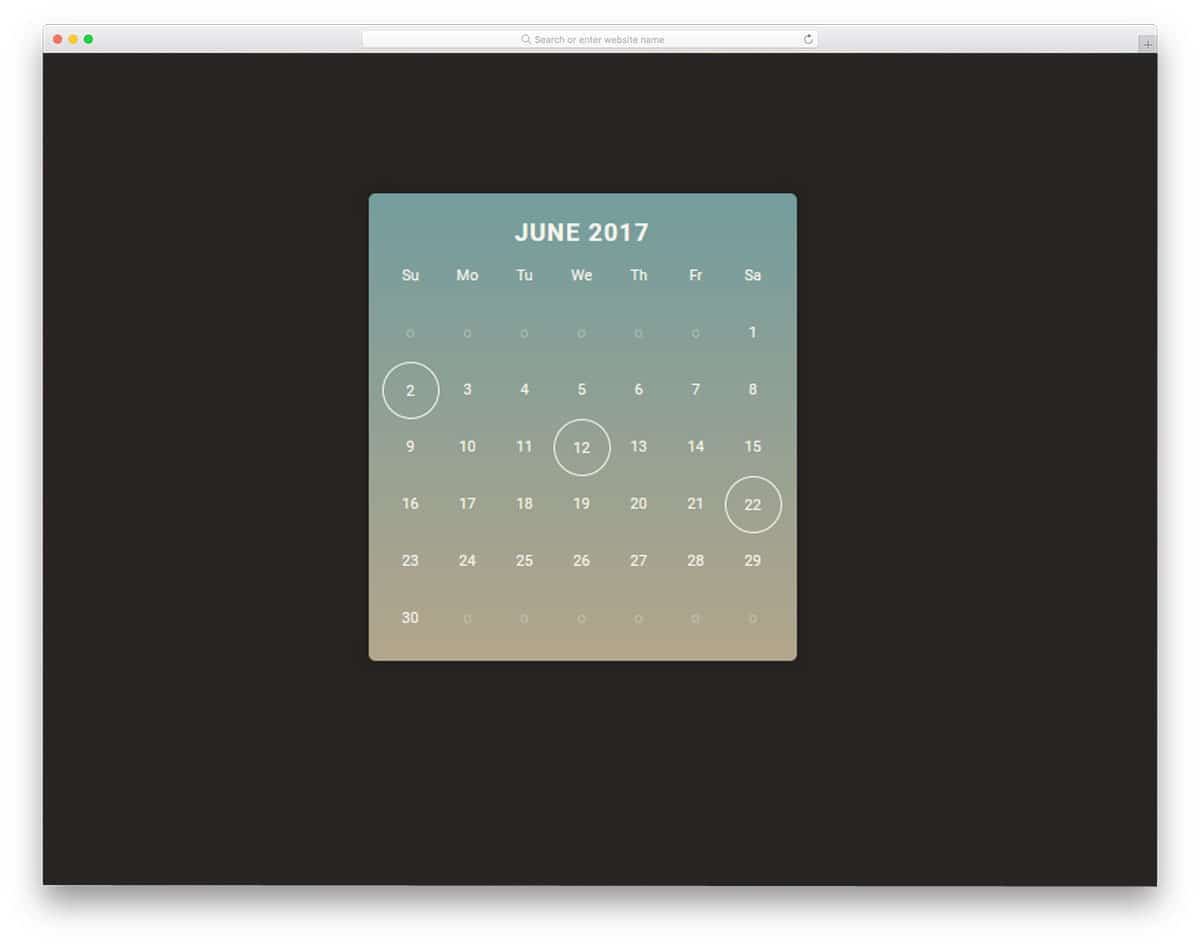 calendar with plenty of room for other features