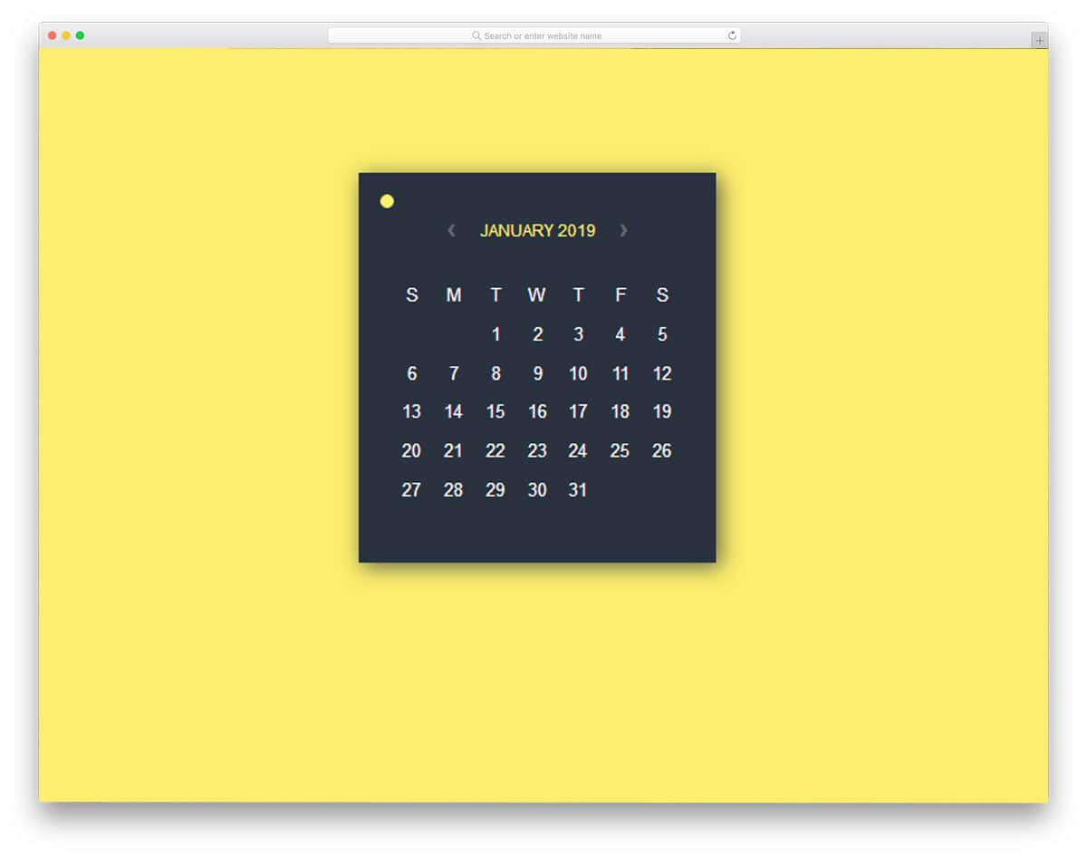 calendar widget with option to switch colors