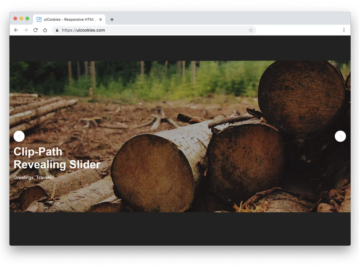 image slider with unique transition effect