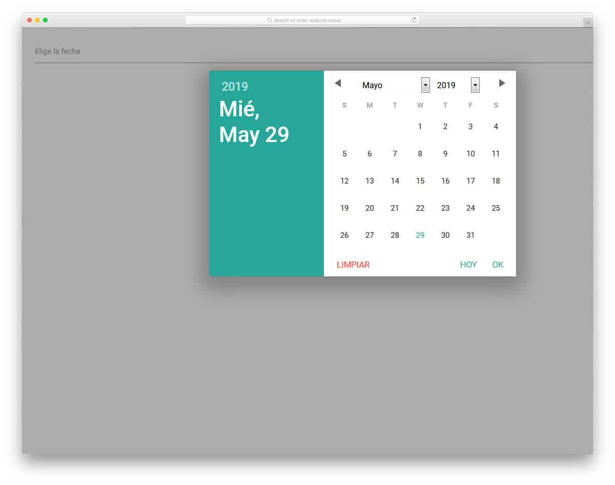 datepicker with a material design calendar