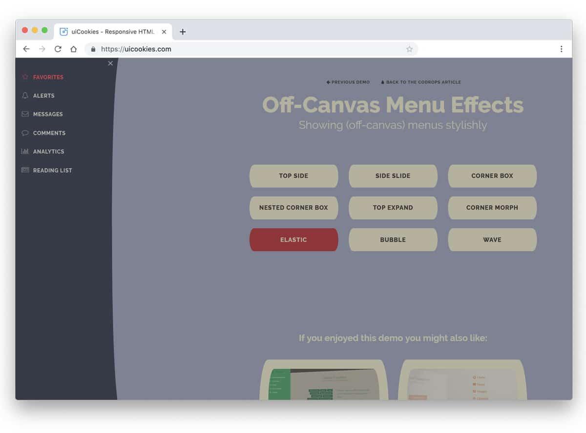 off-canvas style menu designs