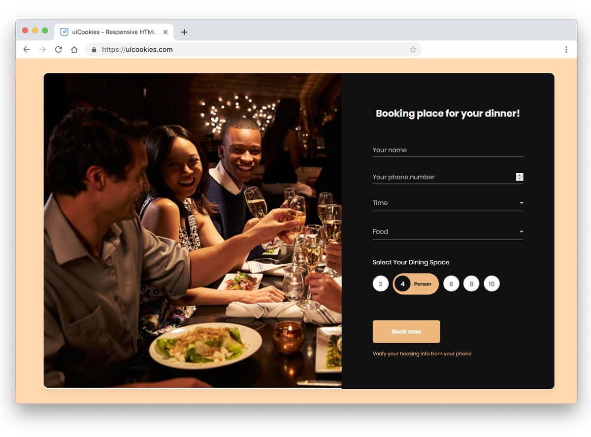 beautiful css forms for table reservation