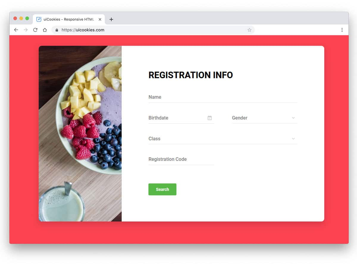 bootstrap form template example for registration form