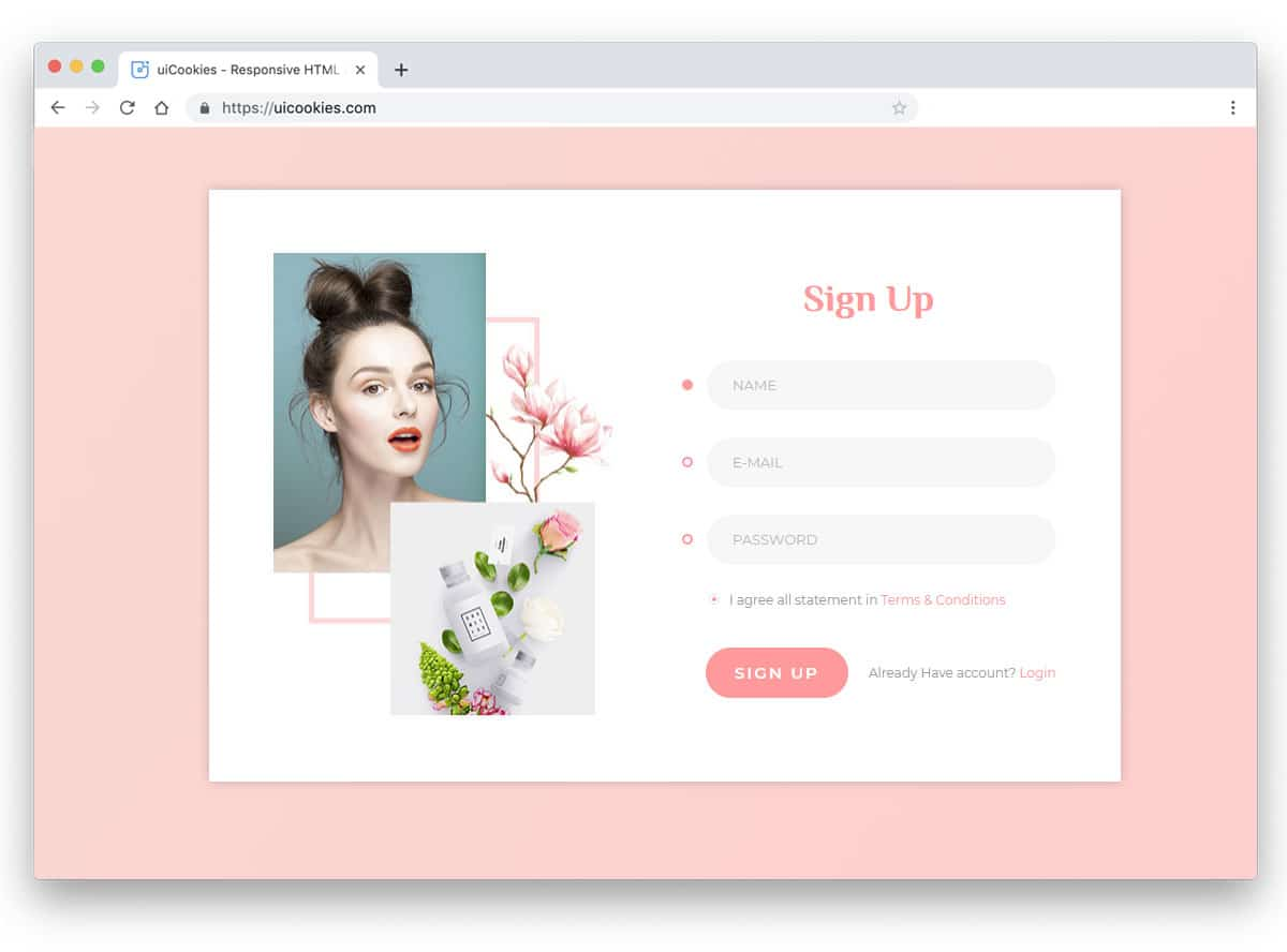 simple and minimal looking registration form for beauty website