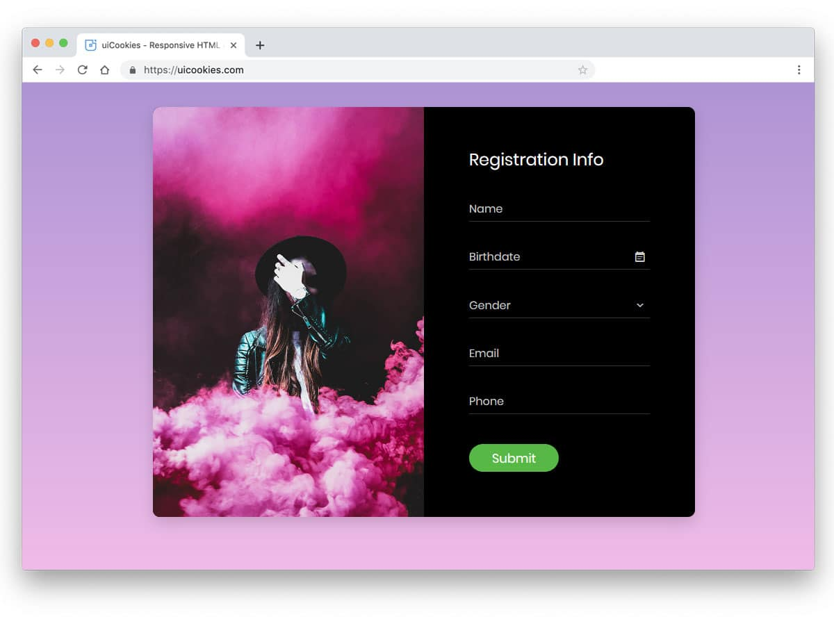 beautiful CSS forms for event registration