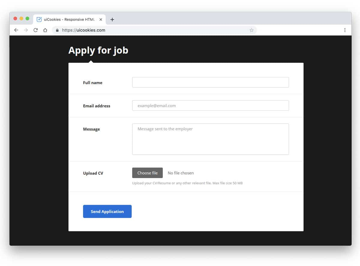 bootstrap form example for job application form