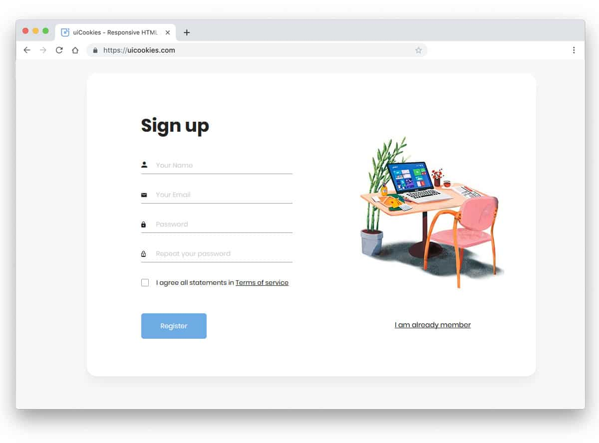 registrationf rom for creating new profile