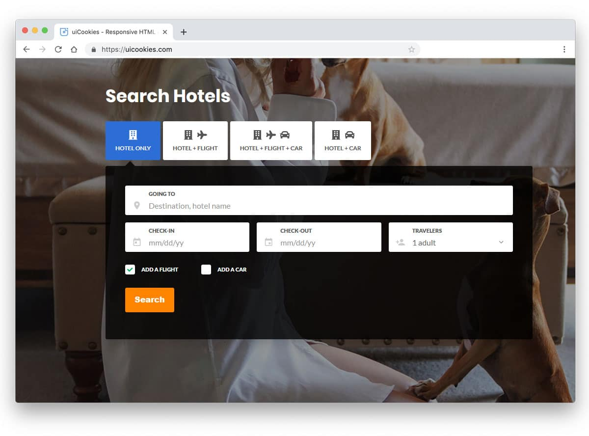 search form design with tabbed interface