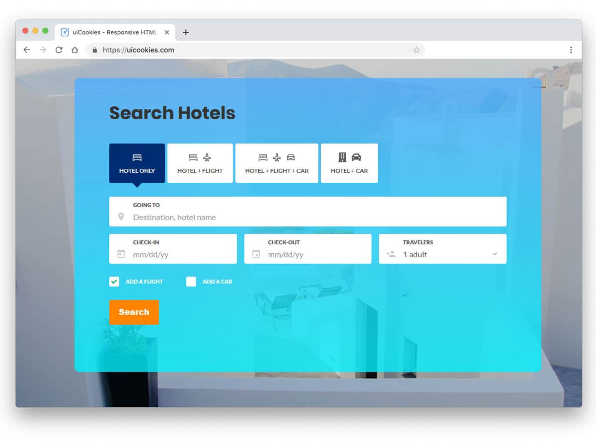 Bootstrap search box example for hotel websites