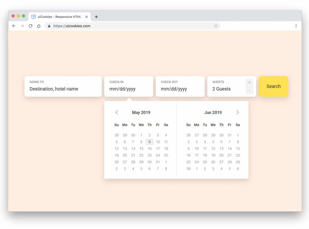 datepicker with wide calendar