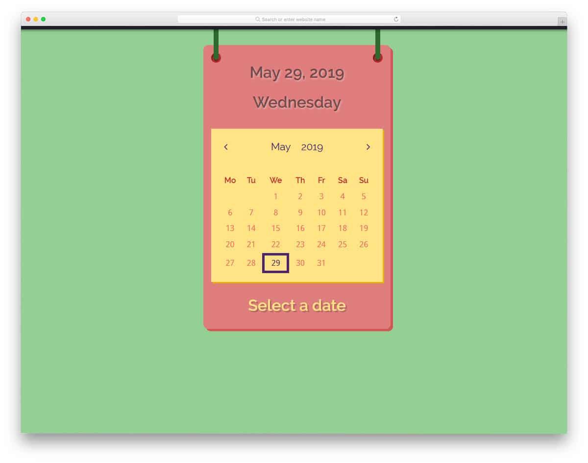 funky style datepicker calendar