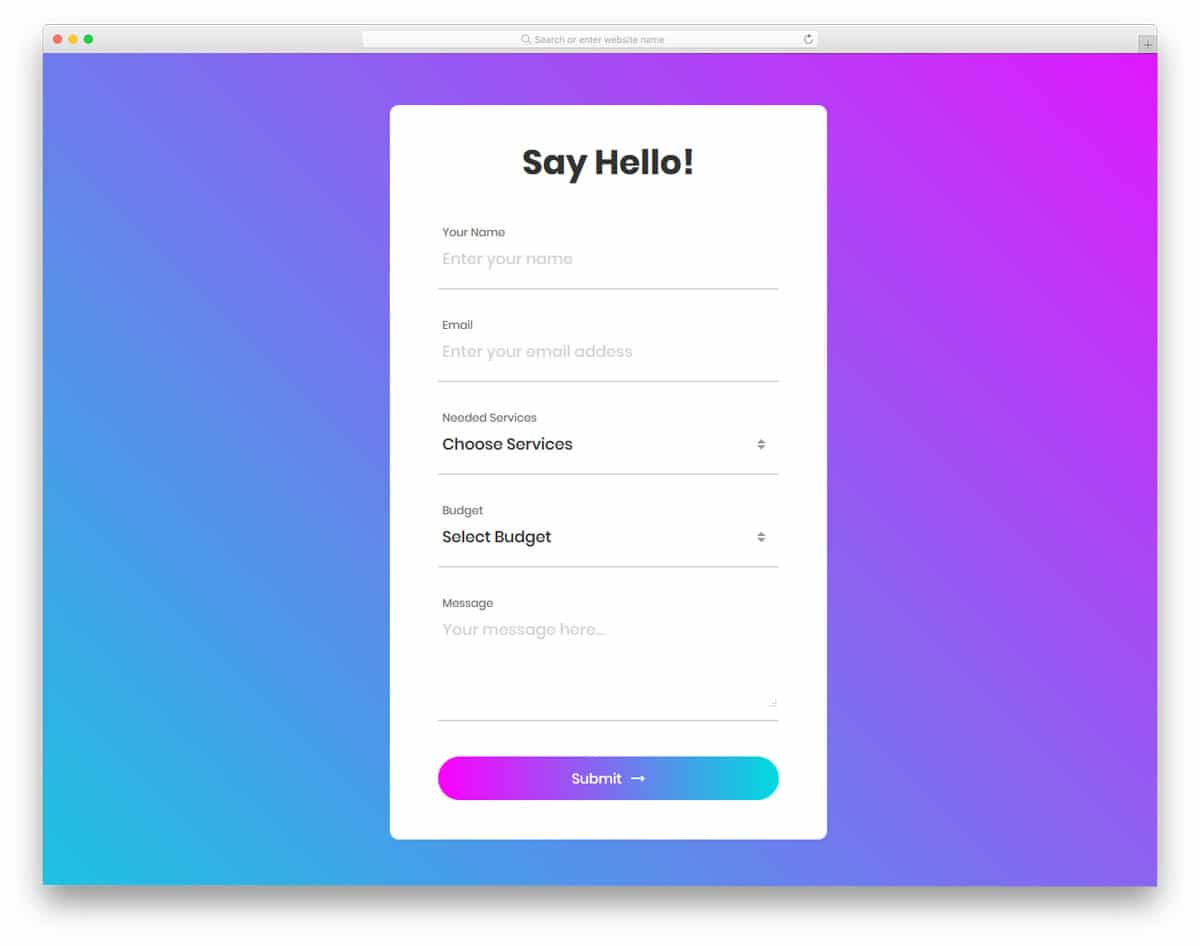 colorful and gradient rich contact form