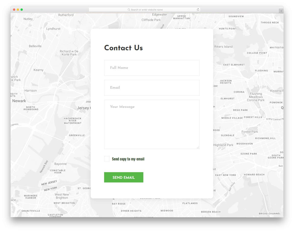 bootstrap form template with google map widget