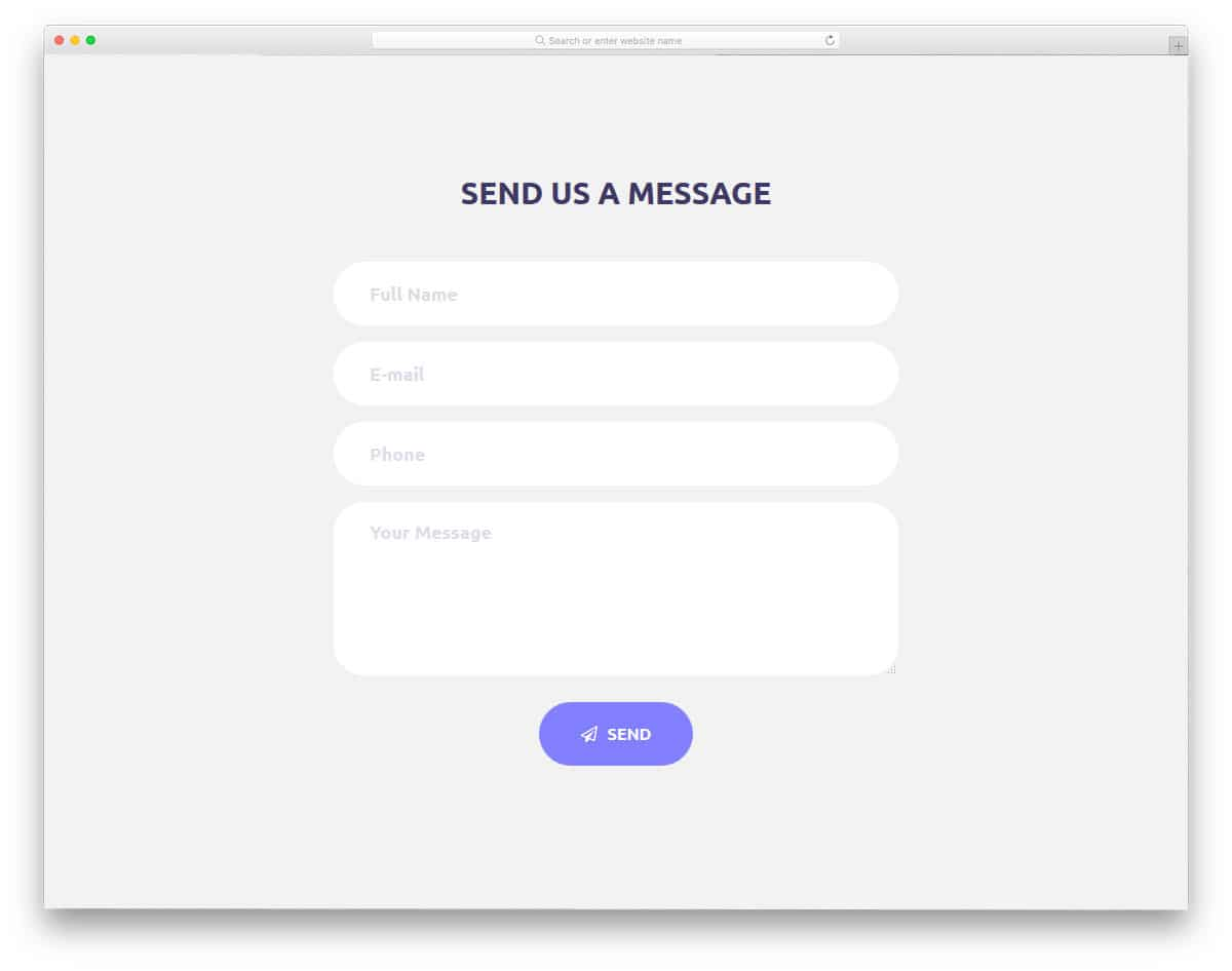 contact form with minimalistic look