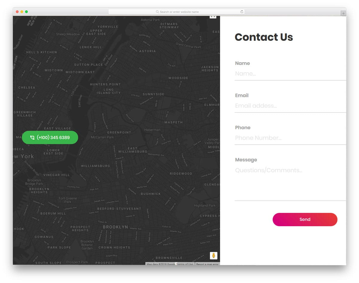 splitscreen contact form with big map widget