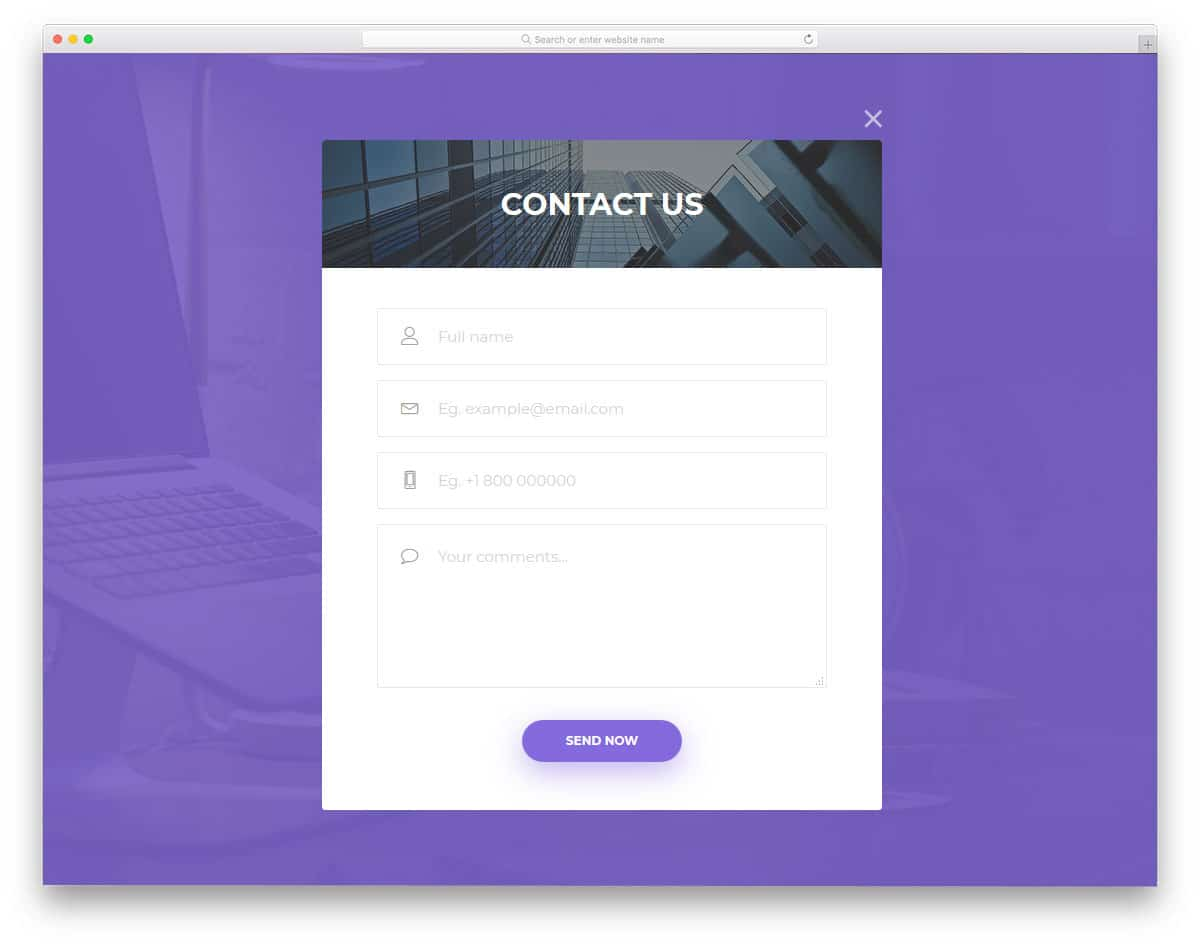 modal window style contact form