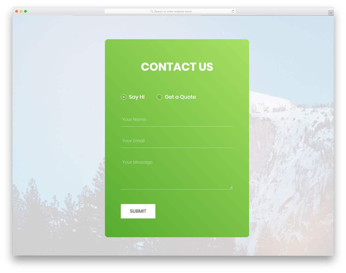 contact form with quote requesting option
