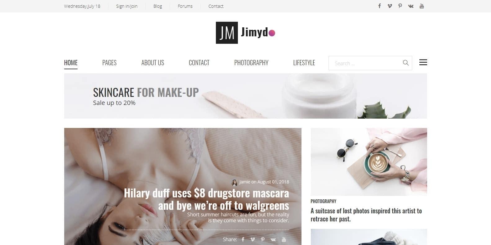 jimydo-author-website-templates