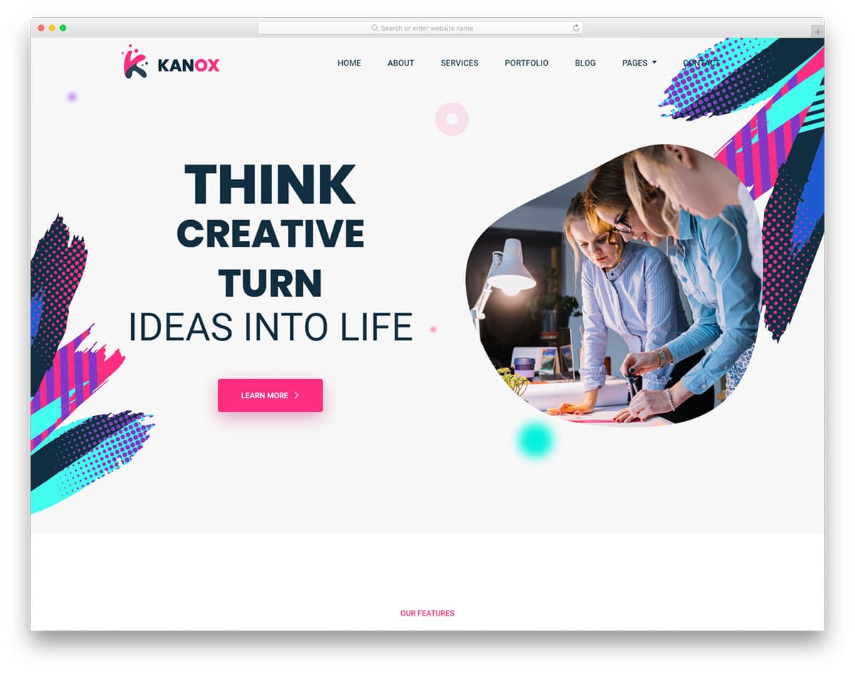 colorful and creative bootstrap header example