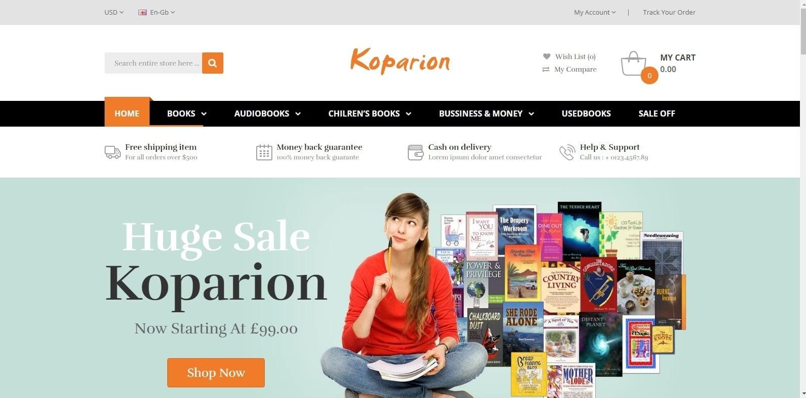 koparion-html-bookstore-website-template