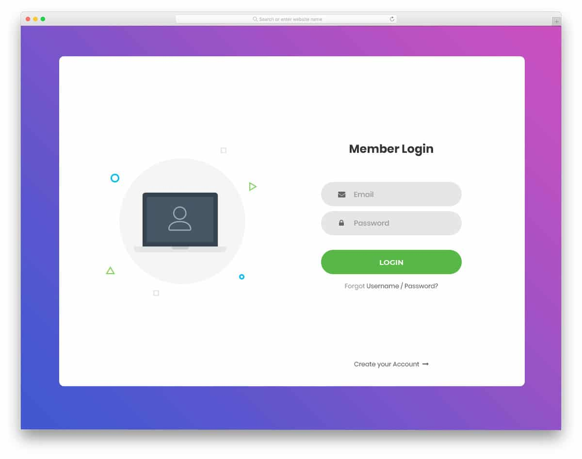 login form with subtle animation effects