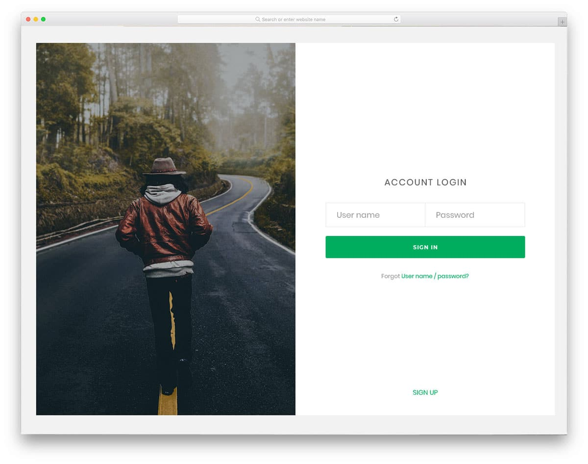 login page with split screen design