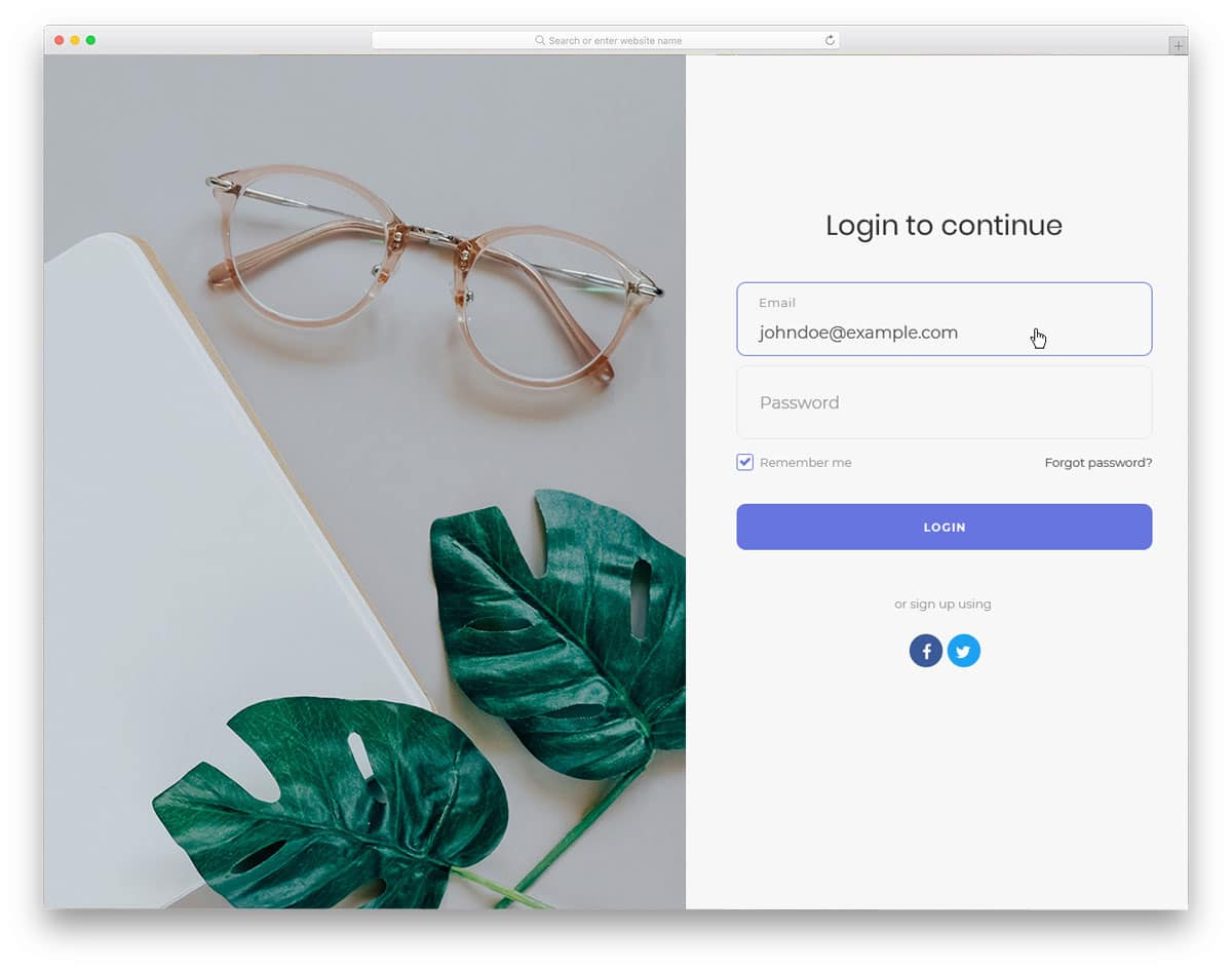 login page bootstrap with social media login option