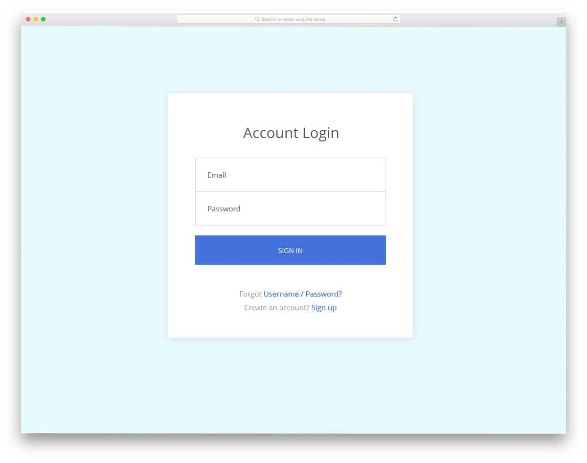 properly structured login page
