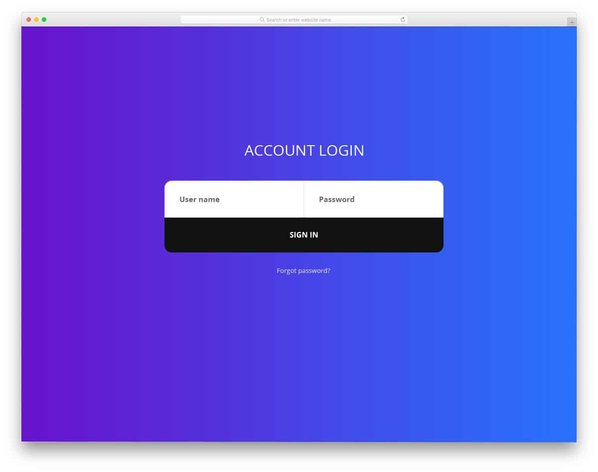 single line login form bootstrap example