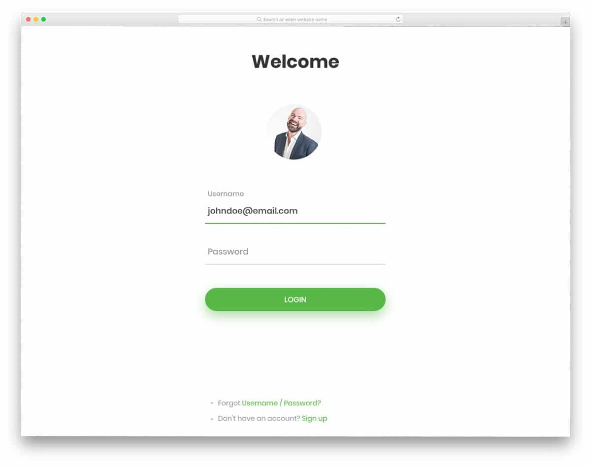 login page bootstrap with profile image