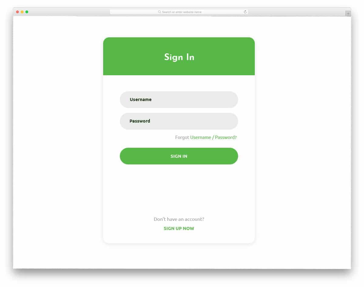 widget style login page