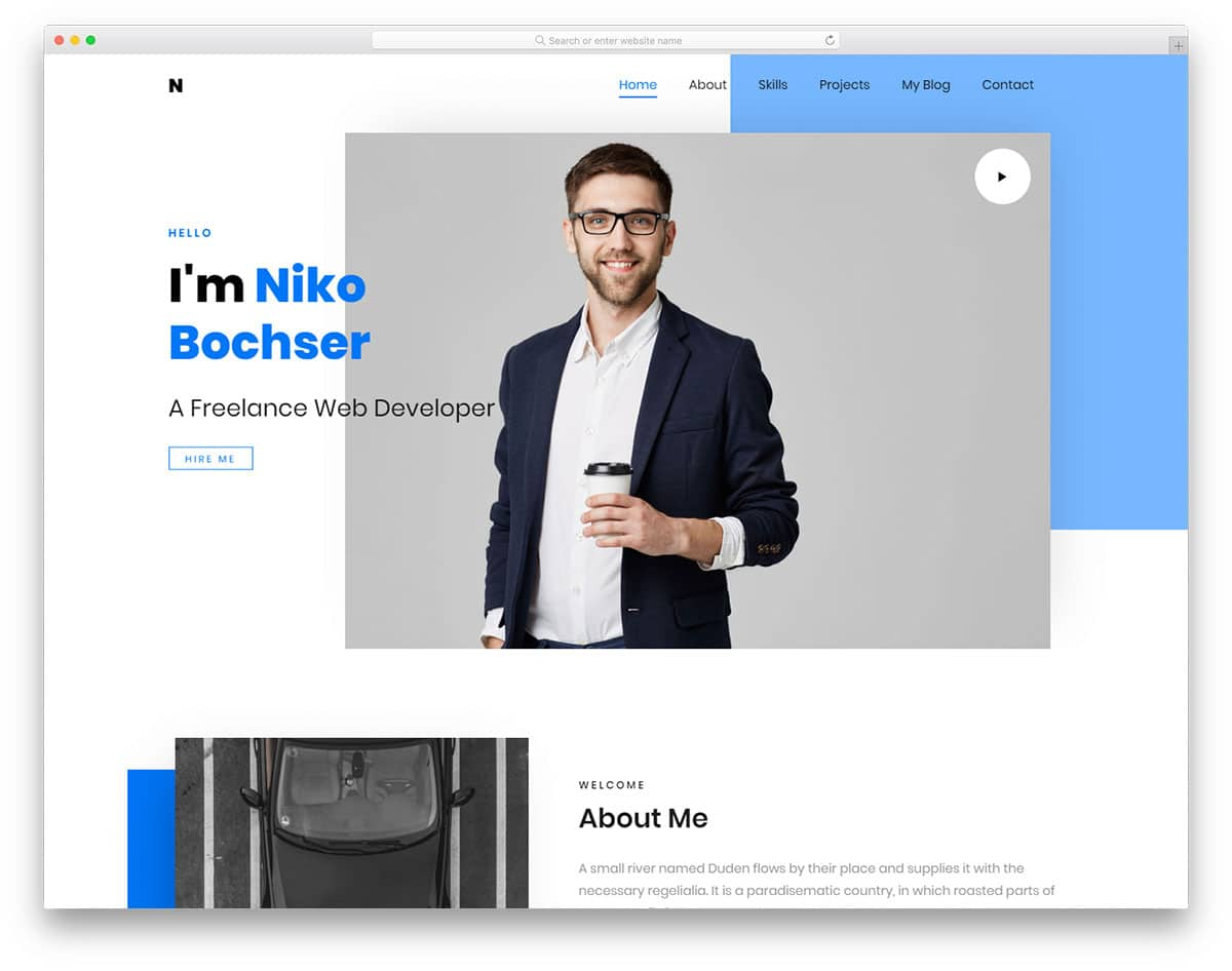 header design for present-day personal website