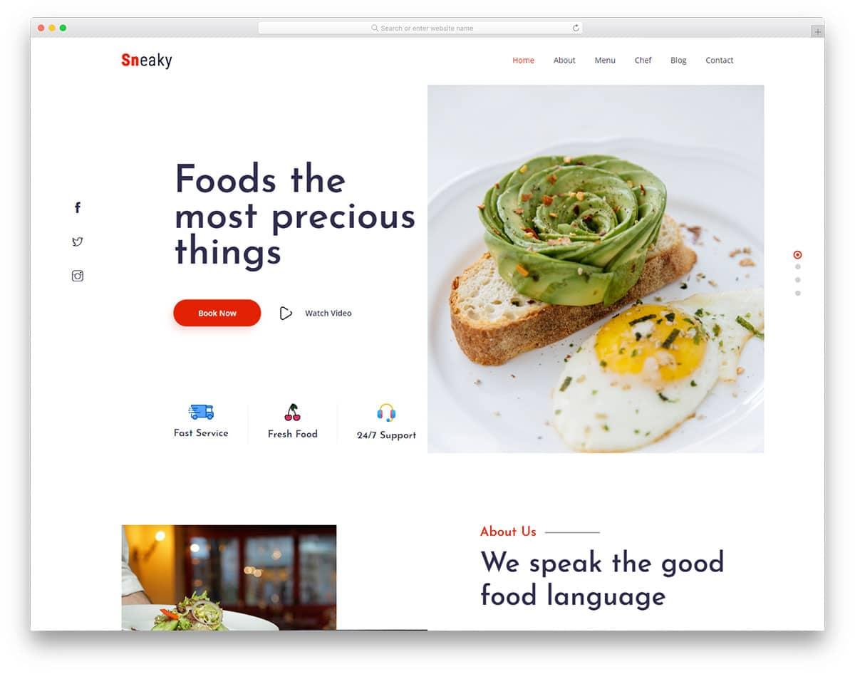 creativre header design for restaurant websites