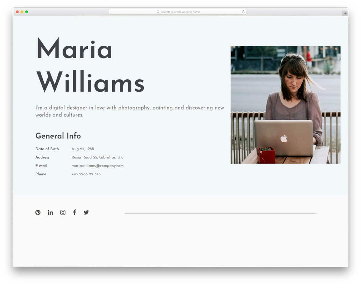 bold and straightforward profile design concept