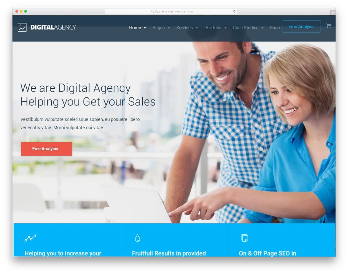corporate style digital agency theme