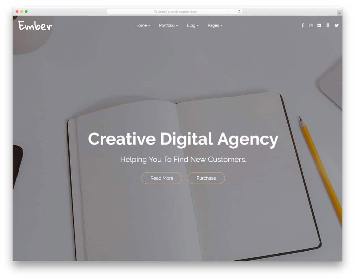 clean and minimal looking agency wordpress theme