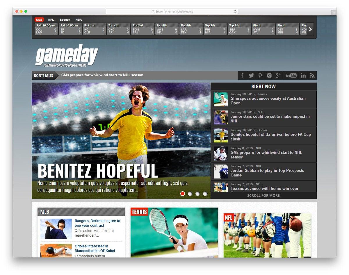 sports news website theme