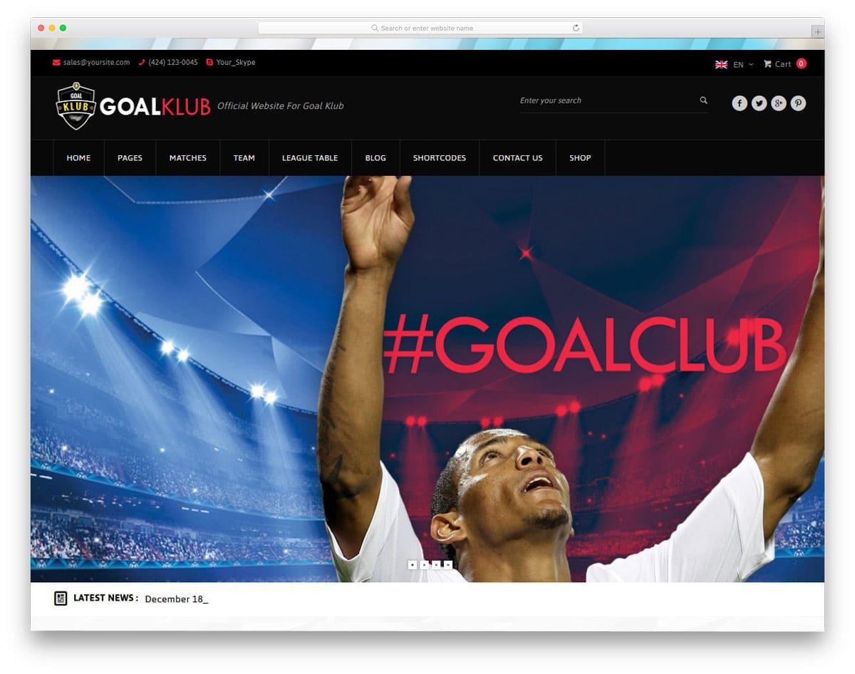 multipurpose sports club website theme