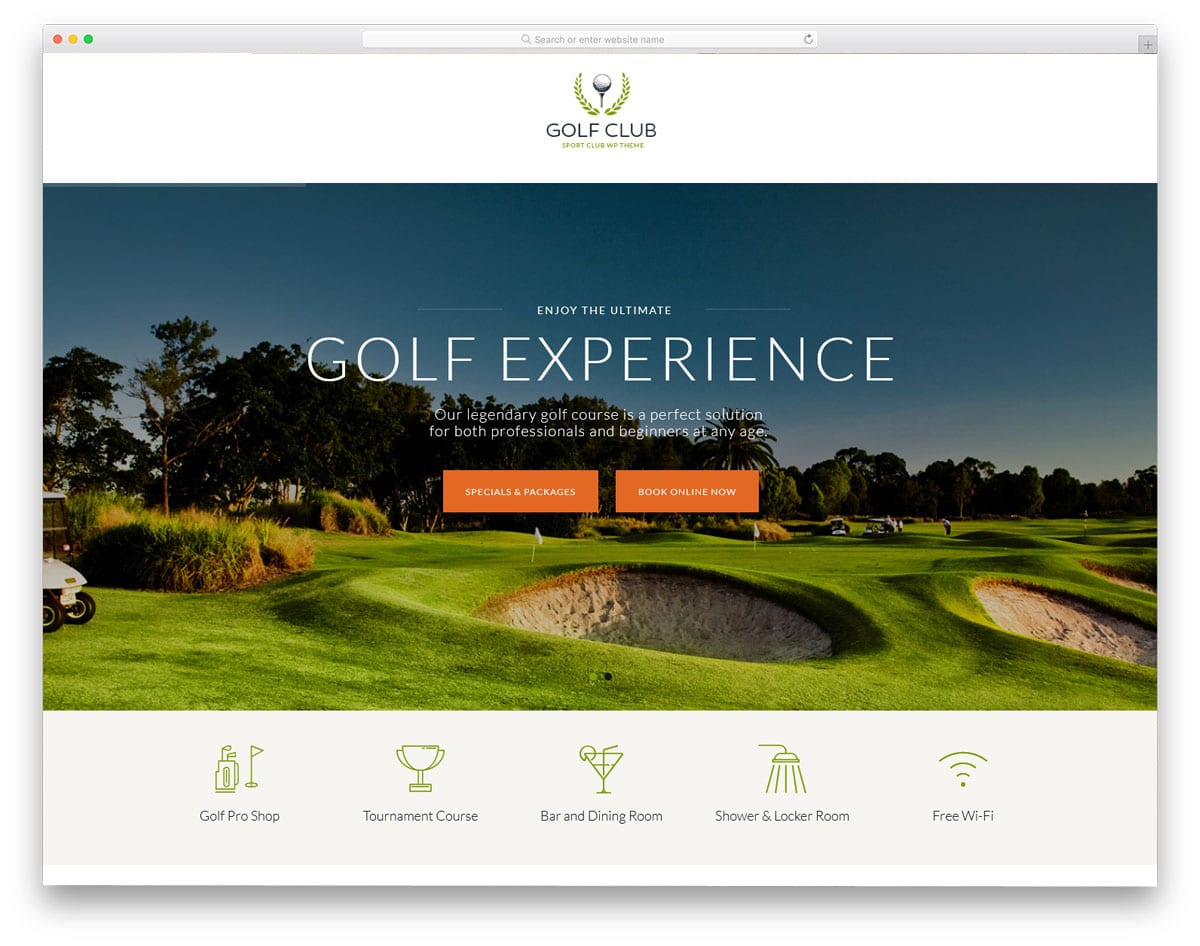 elegant looking golf club wordpress theme